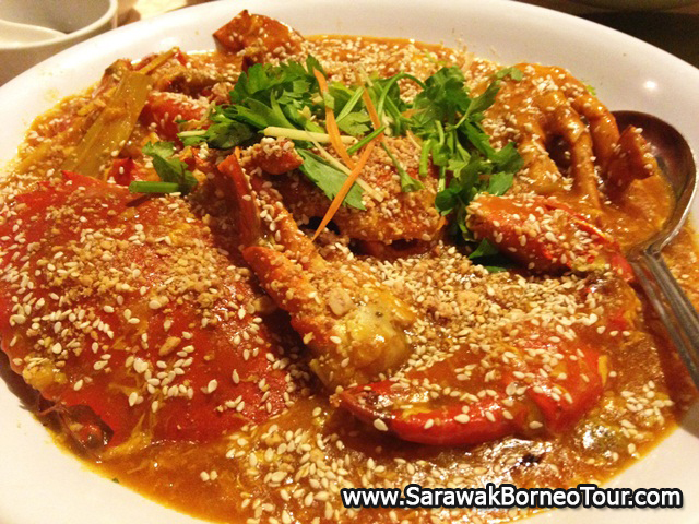 Crabs stir fried in satay sauce