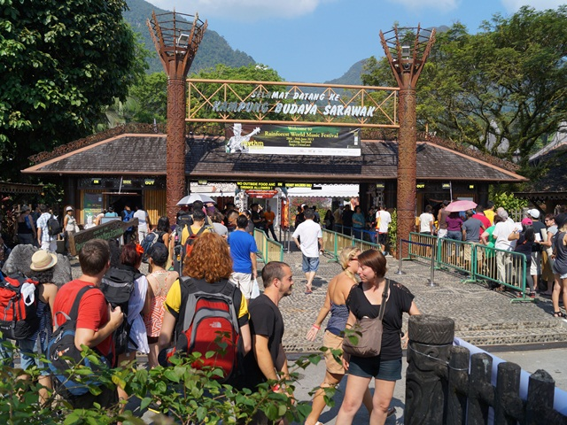 The bustling entrance with Mount Santubong at the back